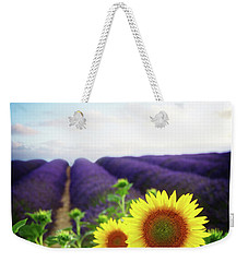 Sunrise Over Sunflower And Lavender Field Weekender Tote Bag