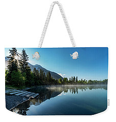 Weekender Tote Bag featuring the photograph Sunrise Over The Mountain And Through The Tree by Darcy Michaelchuk