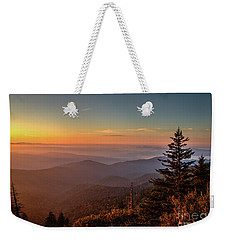 Weekender Tote Bag featuring the photograph Sunrise Over The Smoky's V by Douglas Stucky
