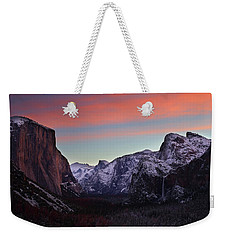 Sunrise Over Yosemite Valley In Winter Weekender Tote Bag