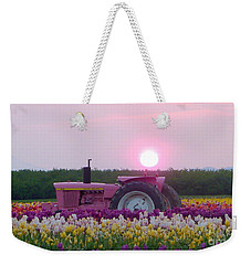 Sunrise Pink Greets John Deere Tractor Weekender Tote Bag