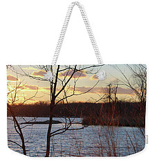 Weekender Tote Bag featuring the photograph Sunset On The River by Melinda Blackman