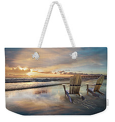 Weekender Tote Bag featuring the photograph Sunrise Romance by Debra and Dave Vanderlaan