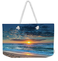 Sunrise Seascape With Footprints In The Sand Weekender Tote Bag