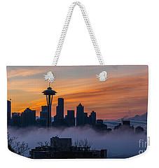 Sunrise Seattle Skyline Above The Fog Weekender Tote Bag by Mike Reid