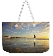 Sunrise Silhouette Down By The Pier. Weekender Tote Bag