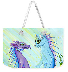 Weekender Tote Bag featuring the painting Sunrise Swim - Sea Dragon Mermaid Cat by Carrie Hawks