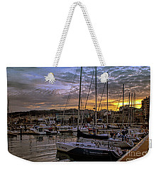 Sunrise Vigo Harbour Galacia Spain Weekender Tote Bag by Lynn Bolt