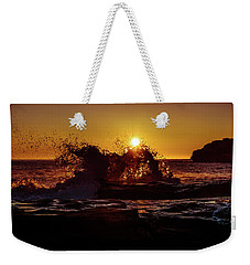 Weekender Tote Bag featuring the photograph Sunrise Waves Crash  by Chris Bordeleau