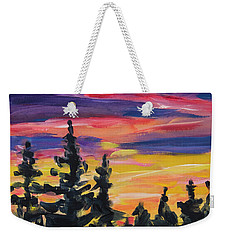Weekender Tote Bag featuring the painting Sunset Alaska by Yulia Kazansky