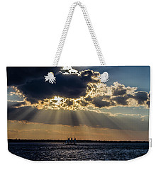 Sunset And A Three Masted Schooner Weekender Tote Bag