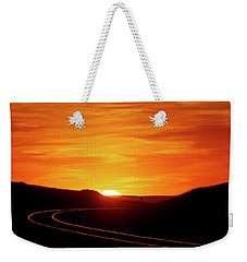 Sunset And Railroad Tracks Weekender Tote Bag