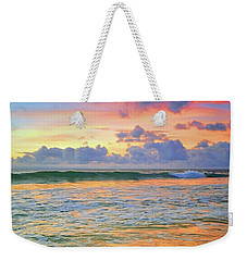 Weekender Tote Bag featuring the photograph Sunset And Sea Foam by Tara Turner