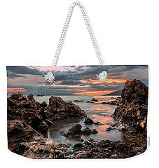 Weekender Tote Bag featuring the photograph Sunset At Charley Young Beach by Susan Rissi Tregoning