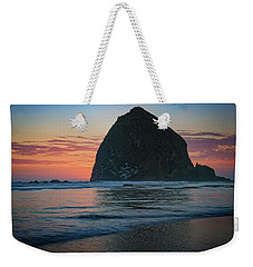 Weekender Tote Bag featuring the photograph Sunset At Haystack Rock by Rick Berk