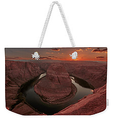 Weekender Tote Bag featuring the photograph Sunset At Horseshoe Bend by Susan Rissi Tregoning