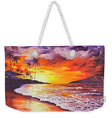 Weekender Tote Bag featuring the painting Sunset At Kapalua Bay by Darice Machel McGuire