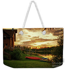 Sunset At Lakeside Lodge Weekender Tote Bag by Lynn Bolt