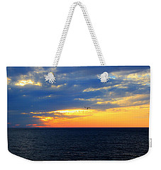 Weekender Tote Bag featuring the photograph Sunset At Sail Away by Shelley Neff