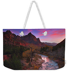 Sunset At The Watchman During Autumn At Zion National Park Weekender Tote Bag