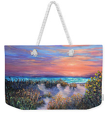 Sunset Beach Painting With Walking Path And Sand Dunesand Blue Waves Weekender Tote Bag