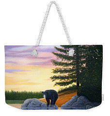 Weekender Tote Bag featuring the painting Sunset Bear by Tracey Goodwin