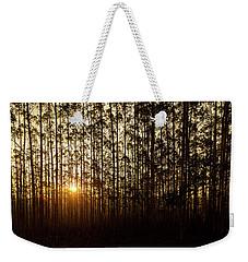Sunset Behind Row Of Trees In Sihlouette Weekender Tote Bag