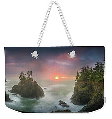 Sunset Between Sea Stacks With Trees Of Oregon Coast Weekender Tote Bag