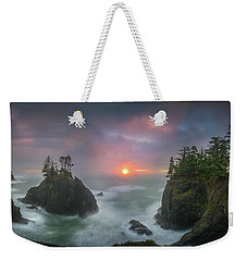 Weekender Tote Bag featuring the photograph Sunset Between Sea Stacks With Trees Of Oregon Coast by William Lee