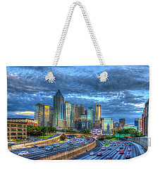 Weekender Tote Bag featuring the photograph Sunset Blue Glass Reflections Atlanta Downtown Cityscape Art by Reid Callaway