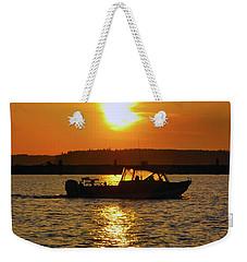 Sunset Boat Weekender Tote Bag