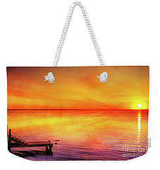 Weekender Tote Bag featuring the digital art Sunset By The Shore by Randy Steele
