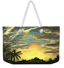Weekender Tote Bag featuring the painting Sunset Clouds by Anastasiya Malakhova