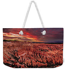 Weekender Tote Bag featuring the photograph Sunset Clouds Over Bryce Canyon by John Hight