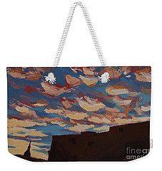 Weekender Tote Bag featuring the painting Sunset Clouds Over Santa Fe by Erin Fickert-Rowland