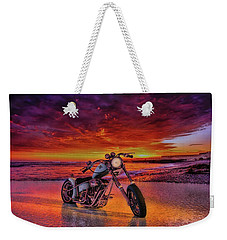 Weekender Tote Bag featuring the photograph sunset Custom Chopper by Louis Ferreira