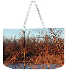 Weekender Tote Bag featuring the photograph Sunset Field Over Water by Melinda Blackman