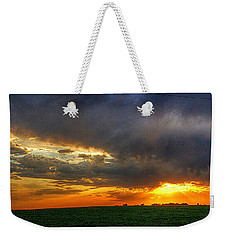 Sunset Fire On A Nebraska Field Weekender Tote Bag by Karen McKenzie McAdoo