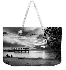Sunset Fishing In Black And White Weekender Tote Bag