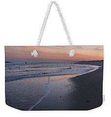 Weekender Tote Bag featuring the photograph Sunset Fishing Seaside Park Nj by Terry DeLuco