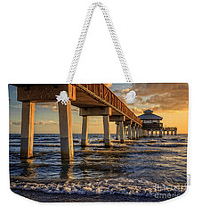 Weekender Tote Bag featuring the photograph Sunset Fort Myers Beach Fishing Pier by Edward Fielding