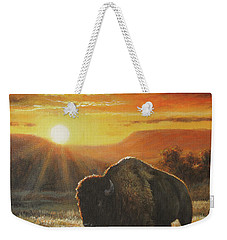 Weekender Tote Bag featuring the painting Sunset In Bison Country by Kim Lockman