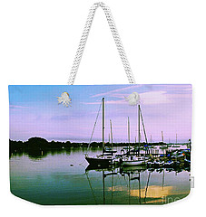 Weekender Tote Bag featuring the photograph Sunset In The Harbor by Gary Wonning