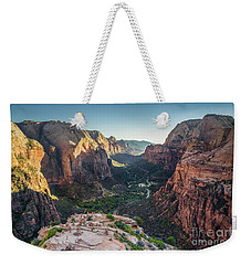 Sunset In Zion National Park Weekender Tote Bag by JR Photography