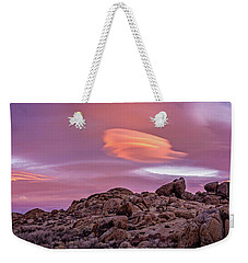 Weekender Tote Bag featuring the photograph Sunset Lenticular by John Hight