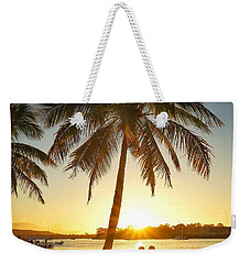 Weekender Tote Bag featuring the photograph Sunset Lovers Under Palm Tree And Down By The River by Keiran Lusk