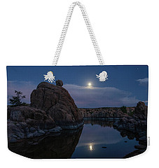 Weekender Tote Bag featuring the photograph Sunset Moon Reflection by Gaelyn Olmsted