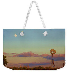 Sunset Moonrise With Windmill  Weekender Tote Bag