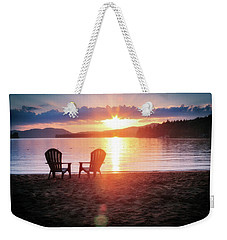 Weekender Tote Bag featuring the photograph Sunset On Fourth Lake by Christopher Meade