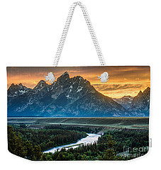Sunset On Grand Teton And Snake River Weekender Tote Bag